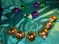 12 alte große DDR Christbaumkugeln Glas gold grün lila Vintage Weihnachtskugeln