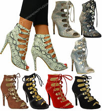 NEW WOMENS HIGH HEELS STILETTOS LACE UP GLADIATOR ANKLE SANDALS PEEP TOE 3-8 UK