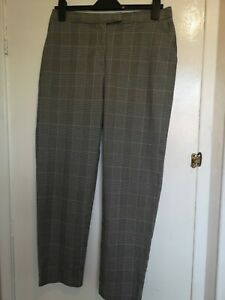 Trousers 12 Warehouse prince of Wales check Black White straight leg work Autumn