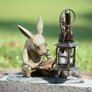 Booklover Rabbit Lantern Garden Sculpture Reading Rabbit Statue Candleholder