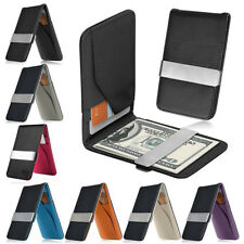 Men Fashion Leather Money Clip Slim Wallets Black ID Credit Card Holder Purse