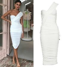 Significant other orion one shoulder white ruched midi cocktail dress AU  U.S 8