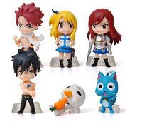 "6PCS HOT SET OF MINI FIGURES Fairy Tail ""Natsu /Happy /Lucy /Gray /Elza"