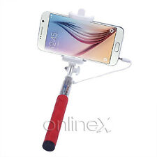 Palo Selfie con Cable Brazo Extensible Universal Ajustable Movil Rojo a1577