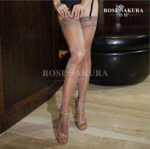 Womens Glossy Ultra-thin Shiny Sheer Lace Top Thigh High Silk Stockings Hold Ups