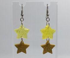 Doble oro amarillo Holo brillo acrílico estrellas pequeños aretes G110 Kitsch 5.2 Cm