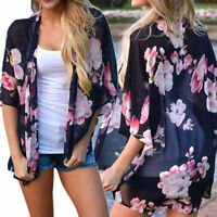 Womens Floral Chiffon Loose Kimono Lightweight Cardigan Cover Up Shirt Blouse