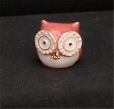 Mini Peachy Owl Bird Metal Hinged Enamel Trinket Box W Crystals