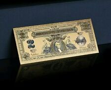 <GOLD STUNNING>1800's Series $2 SILVER CERTIFICATE Banknote Rep*US SELLER pzy