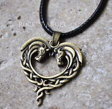 Vintage Bronze Plt Celtic Knot Horses In a Heart Pendant Necklace Ladies Gift