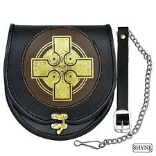 Leather Sporran Gold Cross Black/Brown Leather Sporran for Kilts with Chain Belt