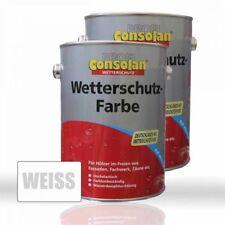 2 x Consolan Wetterschutzfarbe weiss 2,5l - seidenglänzend - Holzdeckfarbe