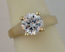 2CT CZ SOLITAIRE ENGAGEMENT RING 14K YELLOW GOLD NEW
