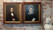19th century American Folk Art -Husband & Wife Portraits-Original Oil Paintings