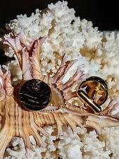 Artisan Cuff Links, Genuine Vintage Hawaiian Black Coral, 14K Gold Plated, New