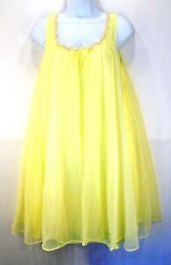 Vintage Lisette Lemon Yellow Chiffon Nylon Baby Doll Sissy Pretty Nightgown SM