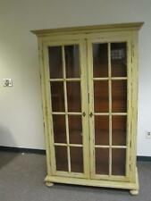 Distressed Rustic Italian Yellow Beige Bookshelf Bookcase Tall Display Cabinet
