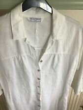 The White Company Ladies 100% Linen Fit &Flare Shirt Dress White Size M/14 VGC