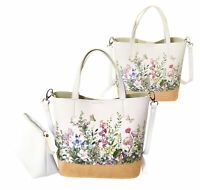 Women's Two Tone Wicker Floral Pattern Handbag Vegan Leather 2 in 1 Tote Purse