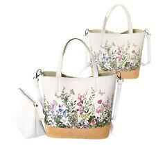 Women's Two Tone Wicker Floral Pattern Handbag Vegan Leather 2 in 1 Tote Purse