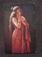 MYRRHA of GREEK MYTHOLOGY - LONG HAIRED PRETTY LADY IN RED Vtg POSTCARD - BELZIM