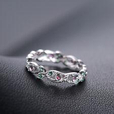 14K White Gold 0.2CT Real Emeralds Rubies Gemstone Wedding Anniversary Band Ring