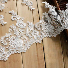 "1Yd 6.3"" Bridal Lace Edging Off White Corded Wedding Trim Embroidery Applique"