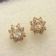 Oval white sim diamonds, real 18k gold filled stud earrings BOXED Plum UK