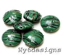 Handmade Lampwork Glass Beads Green stripes Coin 18mm 6pcs (K19) Jewelry Making