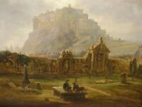 19th Century Edinburgh Castle Landscape Greyfriars Churchard Antique Painting
