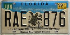 GENUINE Florida Helping Sea Turtles USA License Licence Number Plate RAE 876