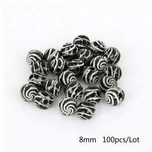 100pcs 8mm Cheap Fashion Acrylic Beads Round Spiral Pattern Beads Loose Spacer