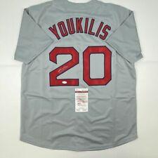 Autographed/Signed KEVIN YOUKILIS Boston Grey Baseball Jersey JSA COA Auto