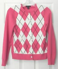 Lands' End Women's Size XS/P 2-4 Pink/White Button Front Long Sleeve Sweater