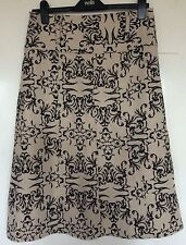 MEES, EUR 38, GOLD & BROWN A-LINE PLEATED KNEE LENGTH SKIRT, 30% WOOL, NWOT