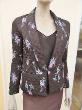 WOMENS BLACK / PINK FLORAL LIGHT QUILTED JACKET - CLAUDIE PIERLOT - 8 / 36