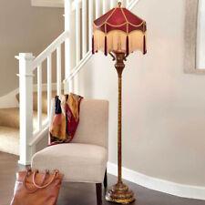 Burgundy & Gold Victorian Style Floor Lamp Red Fabric Shade Fringed Boho Tassels