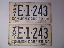 1960 TAXI South Carolina SC ERROR License Plates Set Pair RARE Old Car Tags