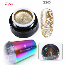 2pcs/lot Champagne Gold Glitter Stamping Gel Polish Silicone Nail Art Stamper