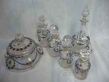 AMAZING ANTIQUE VANITY/DRESSER SET - FRENCH ENAMELED GLASS, GILT TRIM, LOBMEYER?