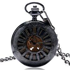 Retro Hand-winding Mechanical Pocket Watch Women Men Roman Number Dial FOB Chain