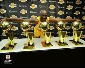 "Kobe Bryant Los Angeles Lakers 5 NBA Championship Trophies Photo (8"" x 10"")"