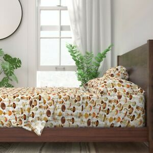 Mushroom Botanical Woodland Floral 100% Cotton Sateen Sheet Set by Roostery