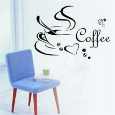 Black Coffee Cups Wall Stickers Cafe Diner Wall DIY Art Decals Decor SH
