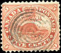 1859 Used Canada 5c F-VF Scott #15 Beaver First Cents Issue Stamp