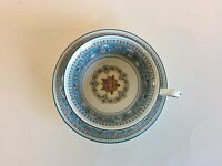 WEDGWOOD FLORENTINE TURQUOISE FRUIT MEDALLION W2714 TEA CUP AND SAUCER - MINT!