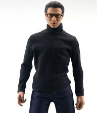 "1:6th Scale Black Long Sleeve High Collar T-shirt F 12"" Male Action Figure Toys"