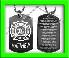FIREFIGHTER PRAYER SILVER ENGRAVED DOG TAG + TEXT NAME