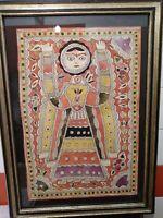 Madhubani mithila PITTURA dea indù Saraswati GRANDE 76 x 55 con cornice in legno