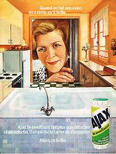 PUBLICITE ADVERTISING 104  1974  AJAX BI-JAVELLISANT  désinfectant ménager